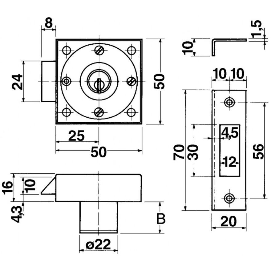 fallenschl sser kaba 1075 schliessung 3 ve 1 st ck. Black Bedroom Furniture Sets. Home Design Ideas